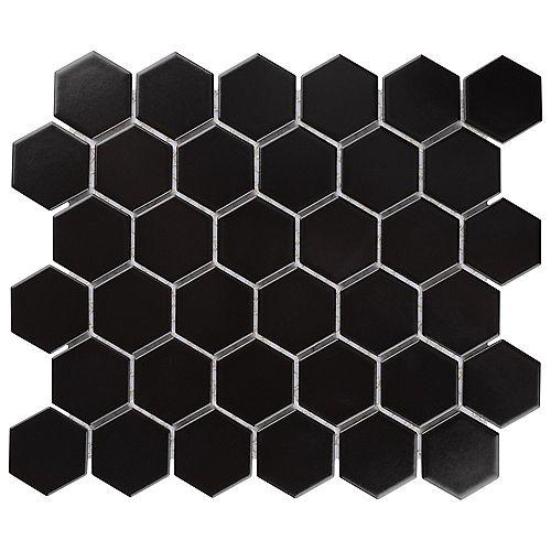 """Metro Hex 2"""" Matte Black 10-1/2-inch x 11-inch x 5 mm Porcelain Mosaic Tile (8.21 sq. ft. / case)"""