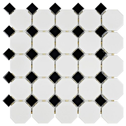 Metro Octo Matte White and Black 11-1/2-inch x 11-1/2-inch x 5mm Porcelain Mosaic Tile(9.38 sq. ft./ca)