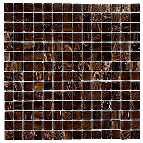 Merola Tile Coppa Brown Gold 12-inch x 12-inch x 4 mm Glass Mosaic Tile (13.27 sq.ft. / case)