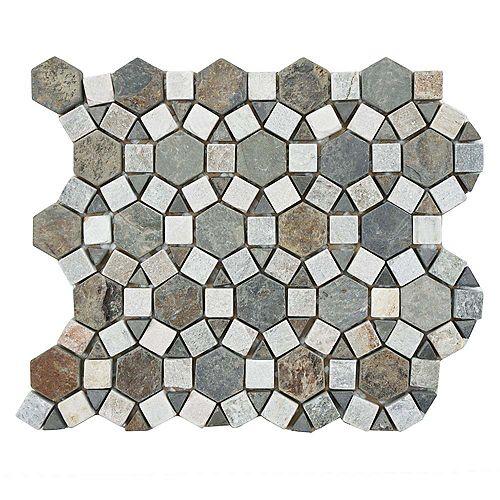 Merola Tile Crag Aztec Multi Sunset 10-1/4-inch x 11-1/4-inch x 9 mm Slate Mosaic Tile (4.1 sq.ft. / case)