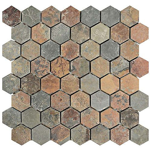 Merola Tile Crag Hexagon Sunset 11-1/8-inch x 11-1/8-inch x 10 mm Slate Mosaic Tile (4.39 sq.ft. / case)
