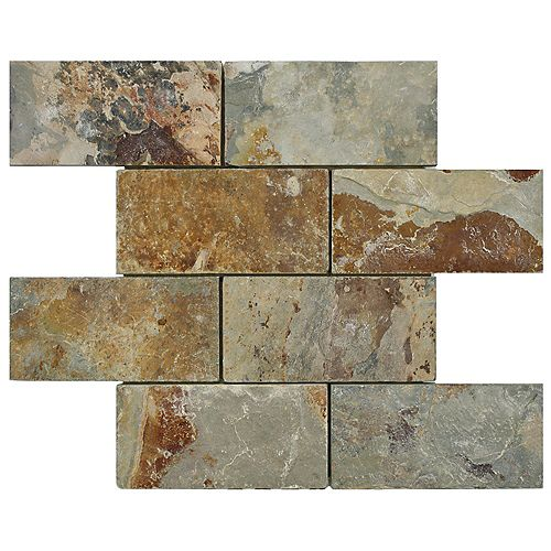 Merola Tile Crag Subway Sunset 11-3/4-inch x 11-3/4-inch x 10 mm Slate Mosaic Tile (4.9 sq.ft. / case)
