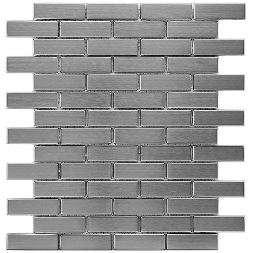 Merola Tile Meta Subway 10-1/2-inch x 12-1/4-inch x 8 mm Stainless Steel Over Ceramic Mosaic Tile(8.92sqft/case)