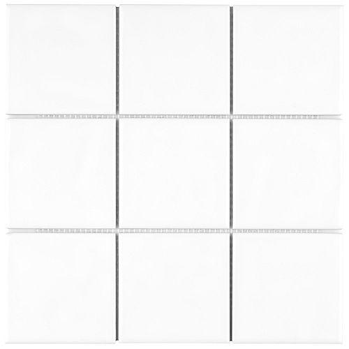 Merola Tile Carreau mosaïque en céramique 11 3/4 po x 11 3/4 po Twist Square blanc glacé (9,79 pi2/boîte)