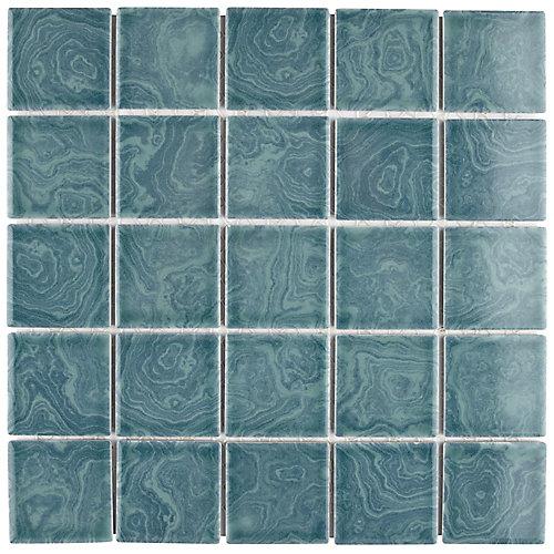 Resort Palm Green 12-inch x 12-inch x 5mm Porcelain Mosaic Tile (10.21 sq. ft. / case)