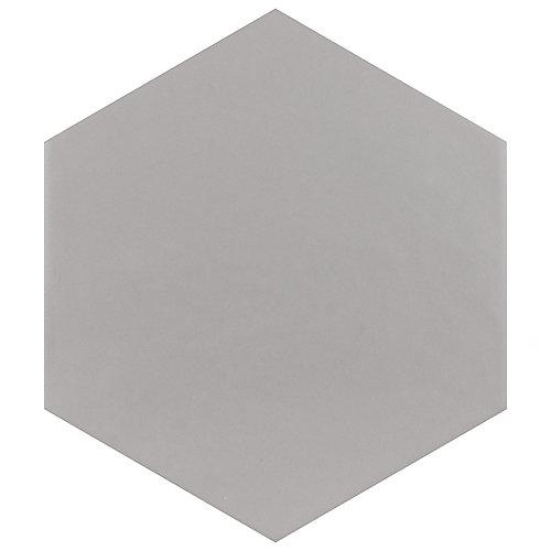 Carreau en porcelaine pour sol/mur Hexatile gris mat 7 po x 8 po (11 pi2/boîte)
