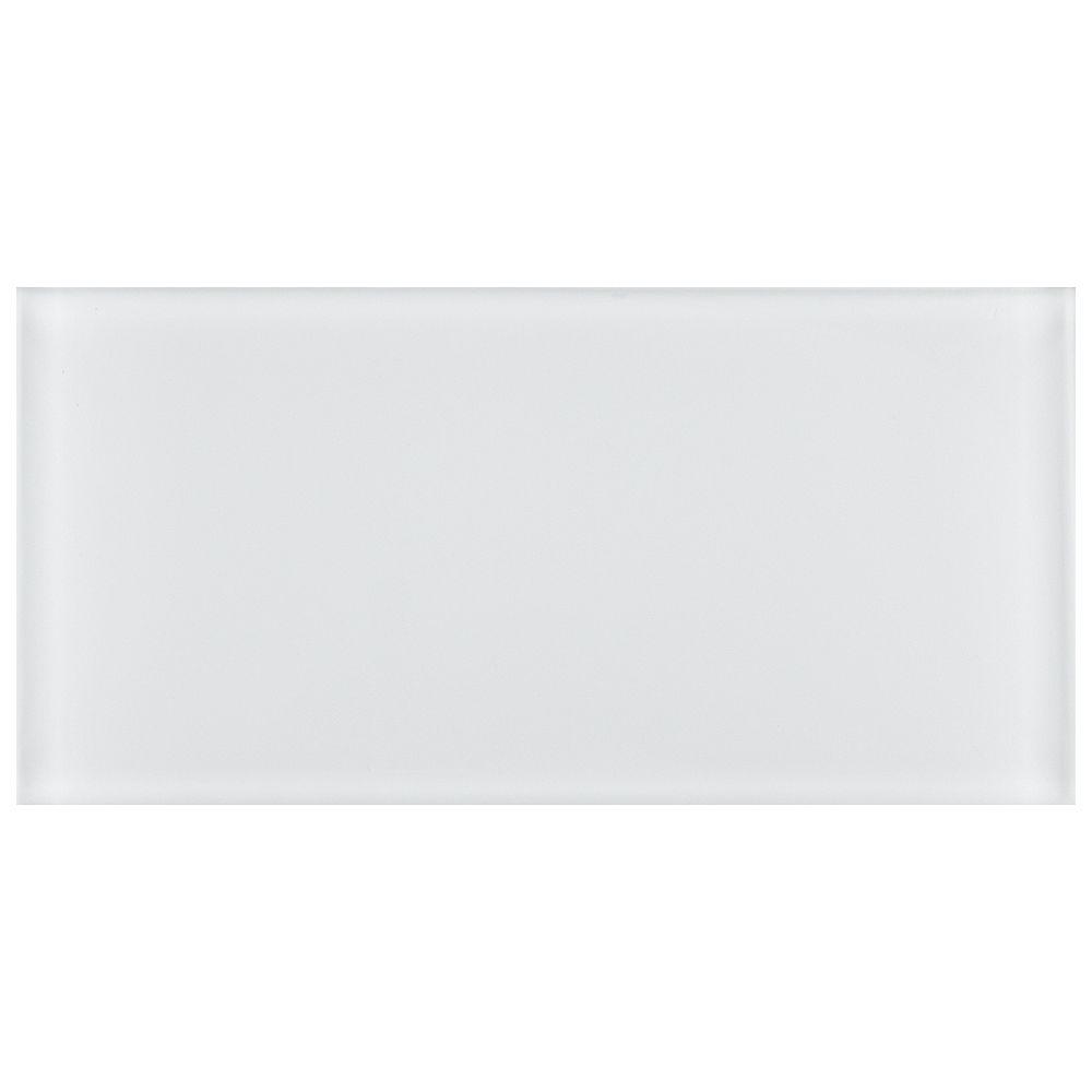Merola Tile Carreau mural en verre Tessera Subway blanc glacé 3 po x 6 po (10 pi2/boîte)