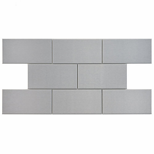Alloy Subway 3-inch x 6-inch Stainless Steel Over Porcelain Wall Tile (8 sq. ft. / case)