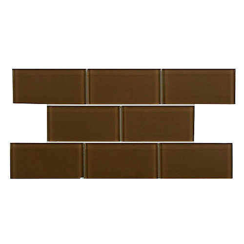 Tessera Subway Earth 3-inch x 6-inch Glass Wall Tile (8 sq. ft. / case)