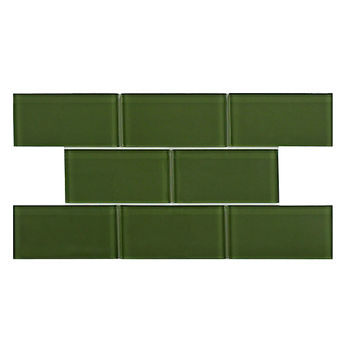 Tessera Subway Sage 3-inch x 6-inch Glass Wall Tile (8 sq. ft. / case)