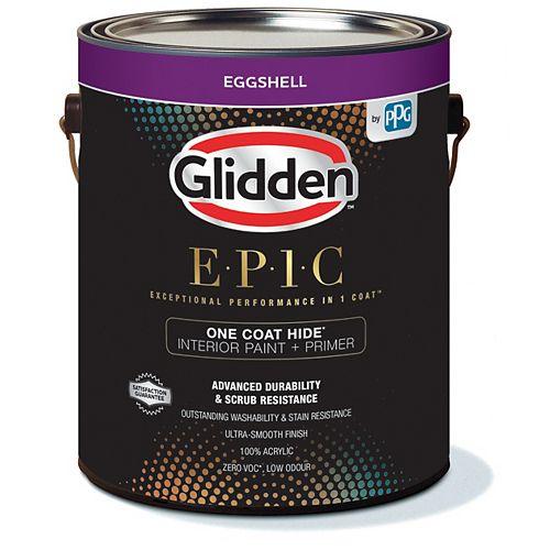 Glidden EPIC One Coat Hide Interior Paint + Primer Eggshell - Medium Base 3.43 L