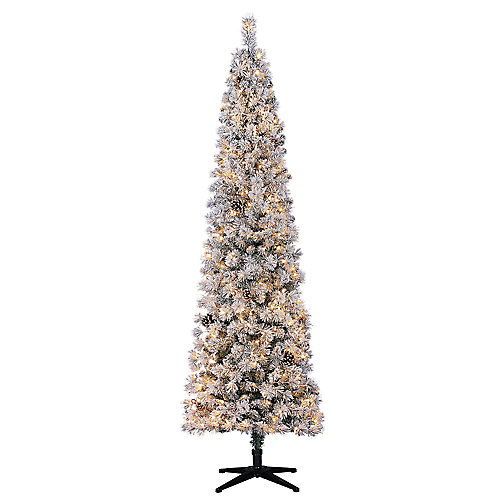 7.5 ft. Pre-Lit LED Flocked Lexington Pencil Artificial Christmas Tree with 250 Warm White Lights