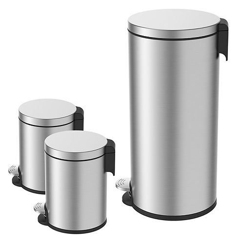 38L and 5L Stainless Steel Step Trash Can Set (3-Piece)