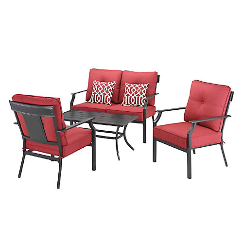 Coopersmith Steel 4-Piece Patio Deep Seating Set in Red