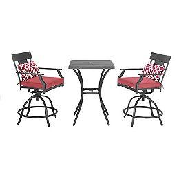 Coopersmith - Mobilier de salle à manger haut en acier de 3 pièces avec chaise pivotante (rouge)