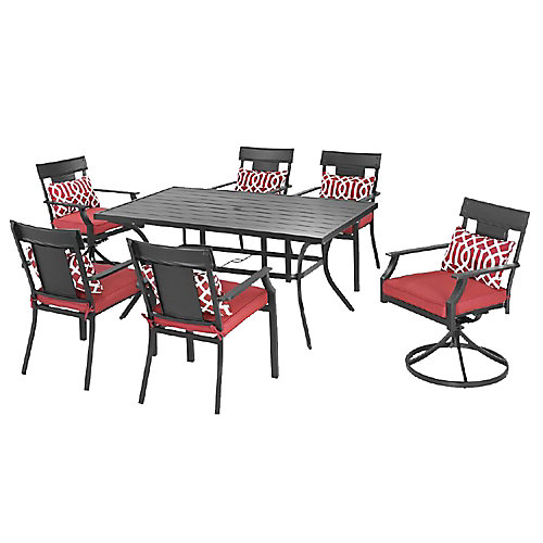 Coopersmith Steel 7-Piece Patio Dining Set in Red