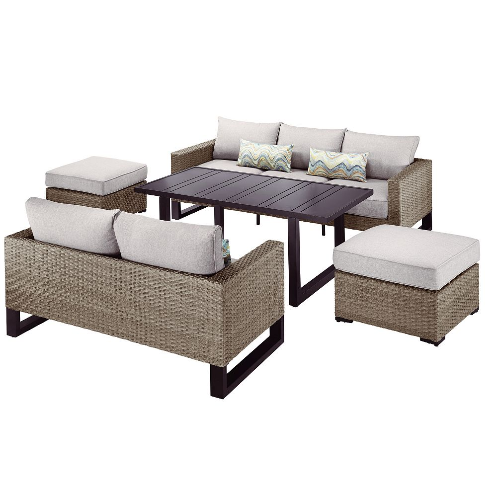 Hampton Bay Park Heights 5-Piece Wicker Outdoor Patio Deep Seating Set with Dining Height Table and Putty Cushions