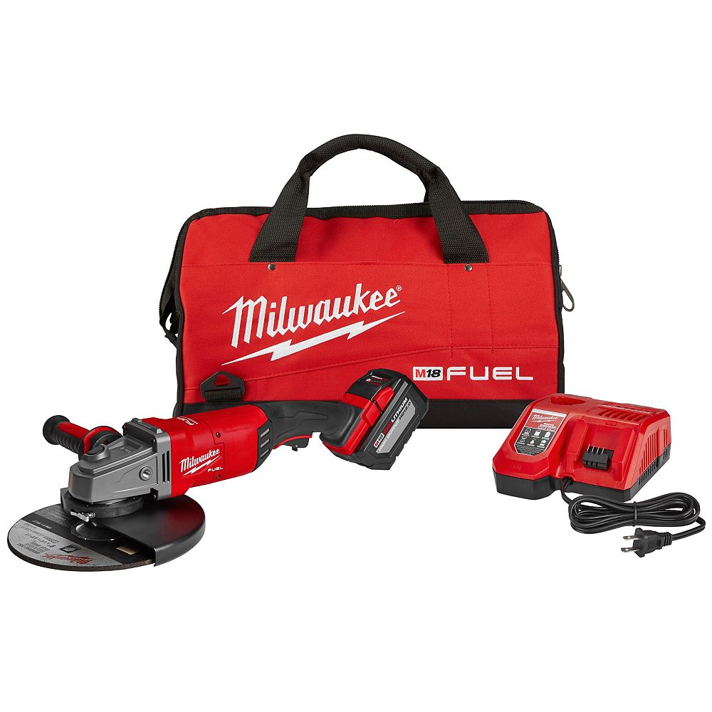 Milwaukee Tool M18 FUEL 18V Lithium-Ion Brushless Cordless 7/9-Inch Grinder Kit W/ (1) 12.0Ah Battery, Bag & Rapid Charger