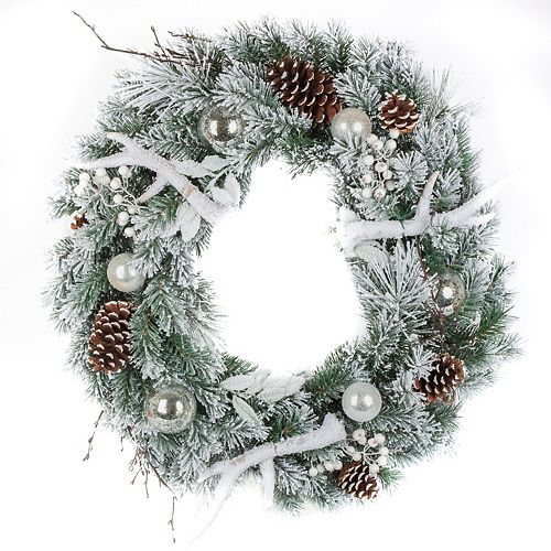 30-inch Flocked Mixed Pine Wreath