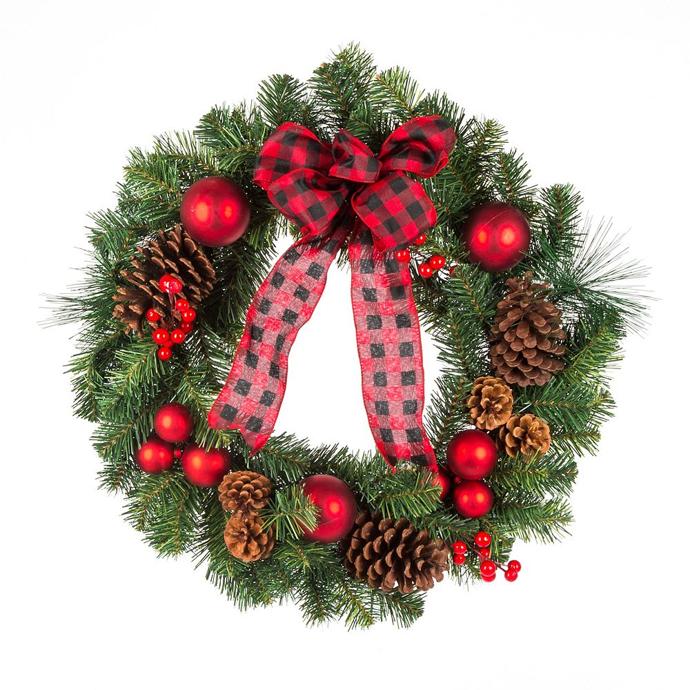 Home Accents 24 Inch Red Christmas Wreath The Home Depot Canada