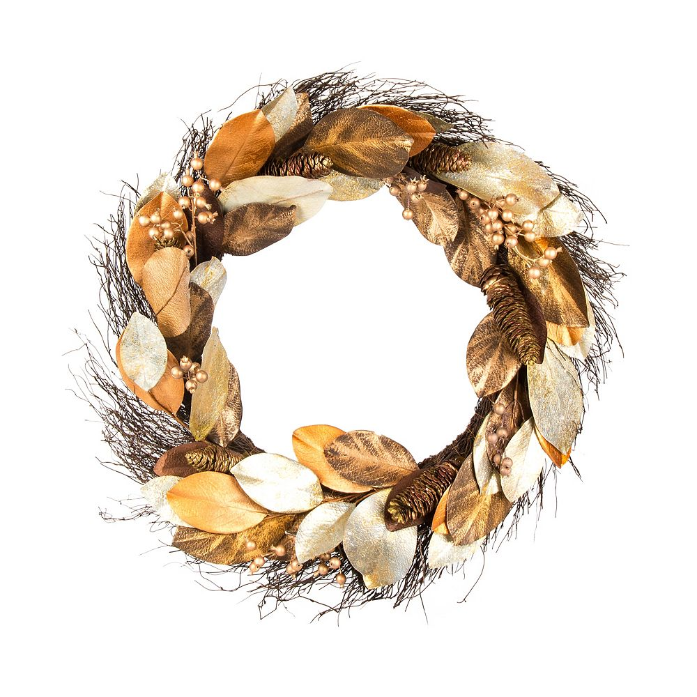 Home Accents 30-inch Artificial Magnolia Wreath in Gold