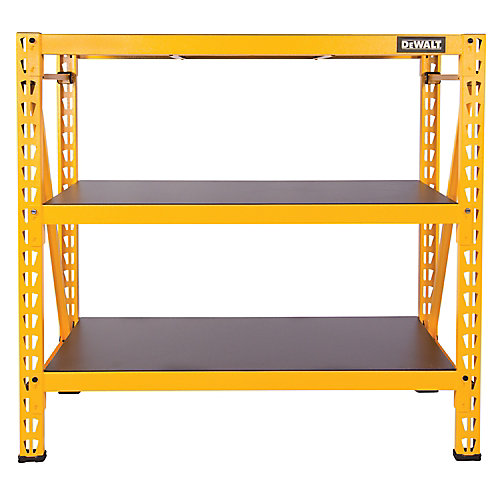 48-inch H x 50-inch W x 18-inch D 3-Shelf Steel / Laminate Industrial Storage Rack Unit in Yellow