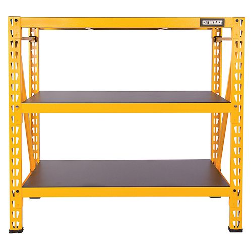 DEWALT 48-inch H x 50-inch W x 18-inch D 3-Shelf Steel / Laminate Industrial Storage Rack Unit in Yellow