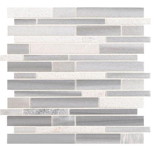 MSI Stone ULC Carreaux de mosaïque imbriquées Bergamo montés sur filet, 11,81 po x 11,81 po x 10 mm, marbre