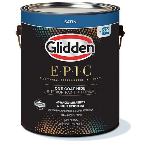 Glidden EPIC One Coat Hide Interior Paint + Primer Satin - Medium Base 3.43 L