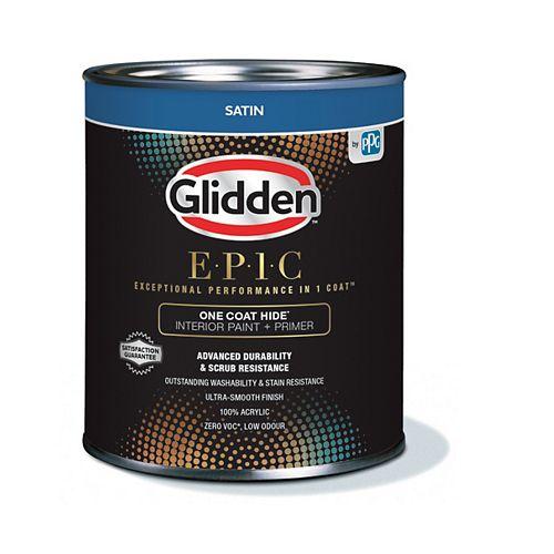 Glidden EPIC Opacité En Une Couche Peinture et Apprêt d'intérieur satiné - Base accent 842 mL