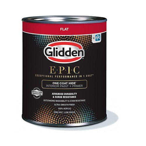Glidden EPIC One Coat Hide Interior Paint + Primer Flat - Medium Base 857 mL