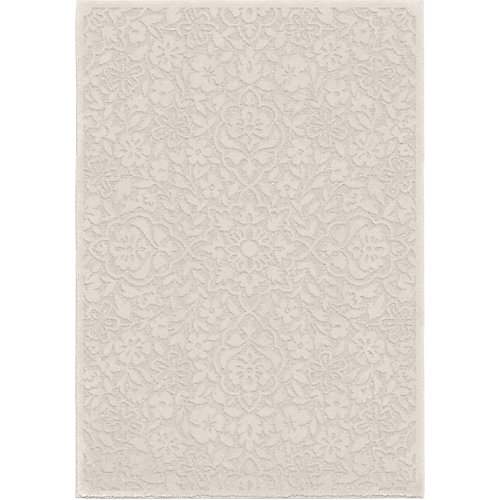 Cottage Floral Natural 5 ft. 2-inch x 7 ft. 6-inch Indoor Area Rug