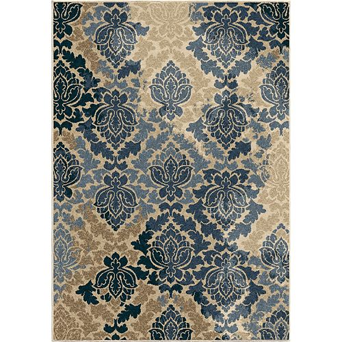 Allover Damask Liberty Blue 5 ft. 2-inch x 7 ft. 6-inch Outdoor Area Rug