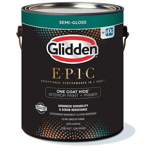 Glidden EPIC Opacité En Une Couche Peinture et Apprêt d'intérieur semi-brillant - Base blanche 3,66 L