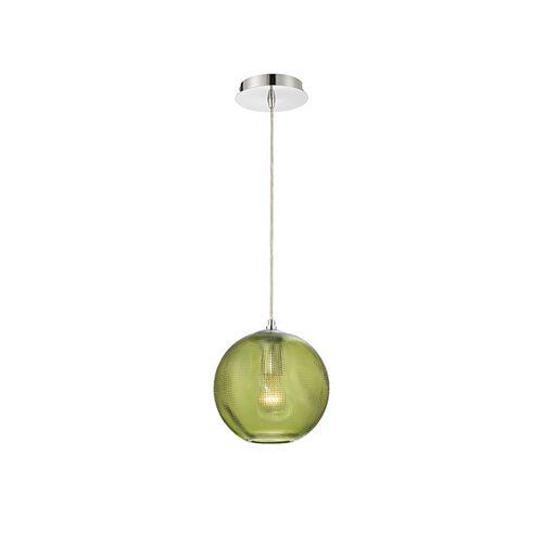 Petit luminaire suspendu Della rond en verre, vert - 34035-030