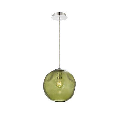 Grand luminaire suspendu Della rond en verre, vert - 34036-037