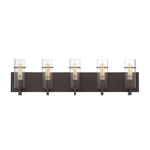 Luminaire de meuble-lavabo Pista à 5ampoules, bronze - 34136-027