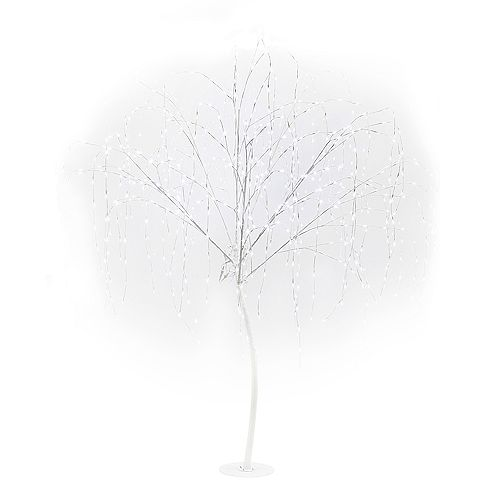 Yard Décor 7ft White Willlow Tree 800 Pure White Twinkle LED