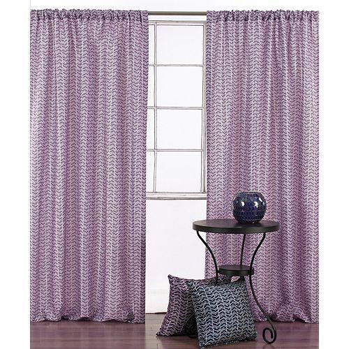 Design géométrique 'Chevron classique' rideaux passe-pôle (2p) 52 x 95 po  Violet/Blanc