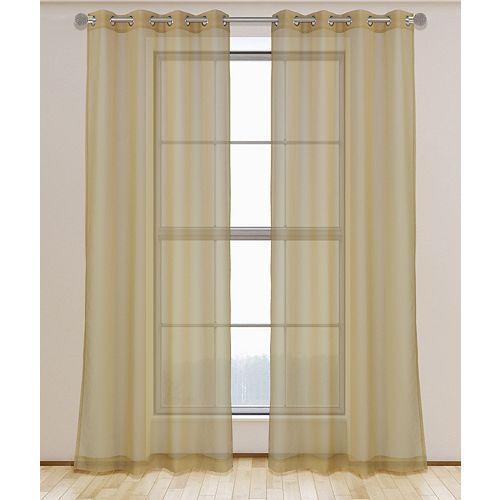 Aura ensemble de 2 rideaux voilage à illets 54x95 po, or brosse