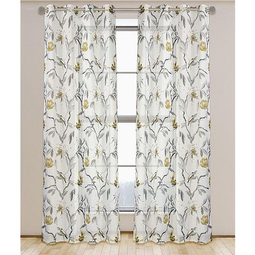 Andi de 2 rideaux à illets semi-voilage texturé motif floral et botanique, 54 x 95 po, blanc/noir/gris/or brosse