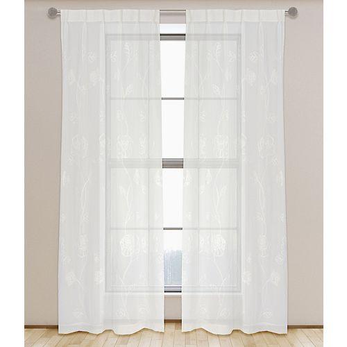 Zara de 2 rideaux voilage transparent à plis français, 30 x95 po, ivoire