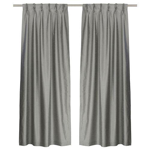 ZOI de 2 rideaux plis français en fausse soie doublés, 30 x 95 po, gris
