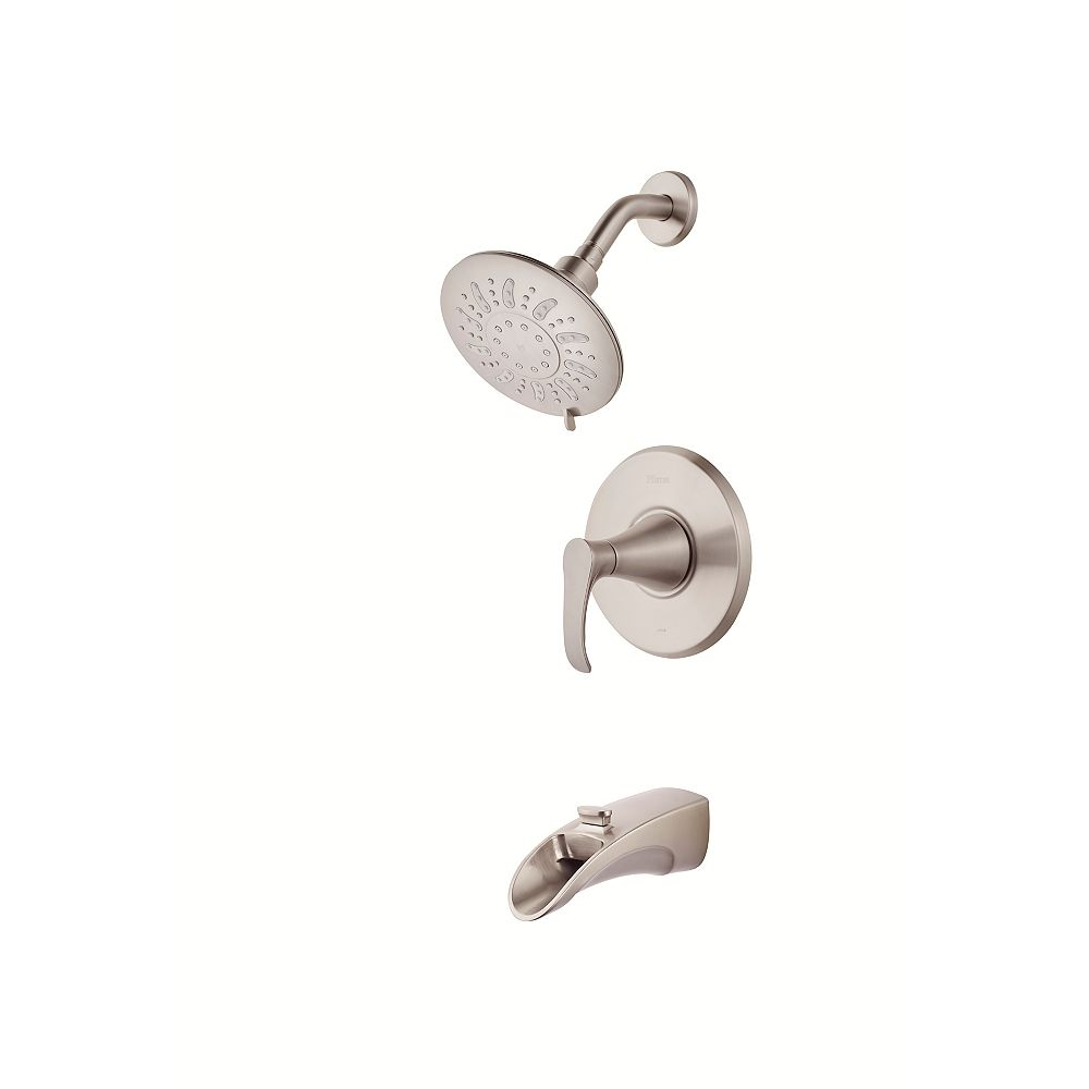 Pfister Brea Tub and Shower Faucet and Showerhead in Satin Nickel