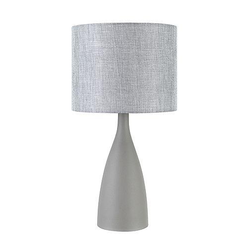 """Lampe de table de 22"""", collection Della, base en fini de béton, abat-jour en lin gris"""
