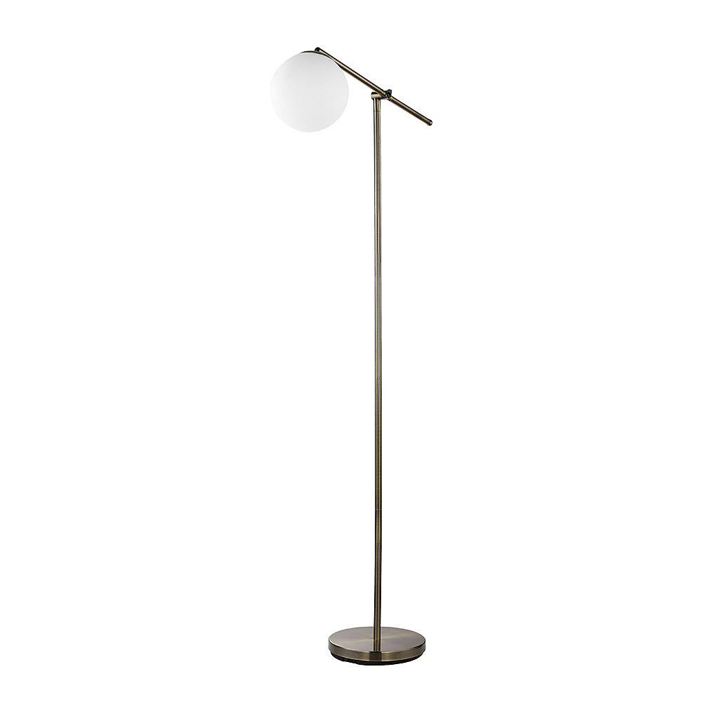 Globe Electric Lampe sur pied de 65 po, collection Portland, fini en laiton, abat-jour en verre blanc givré