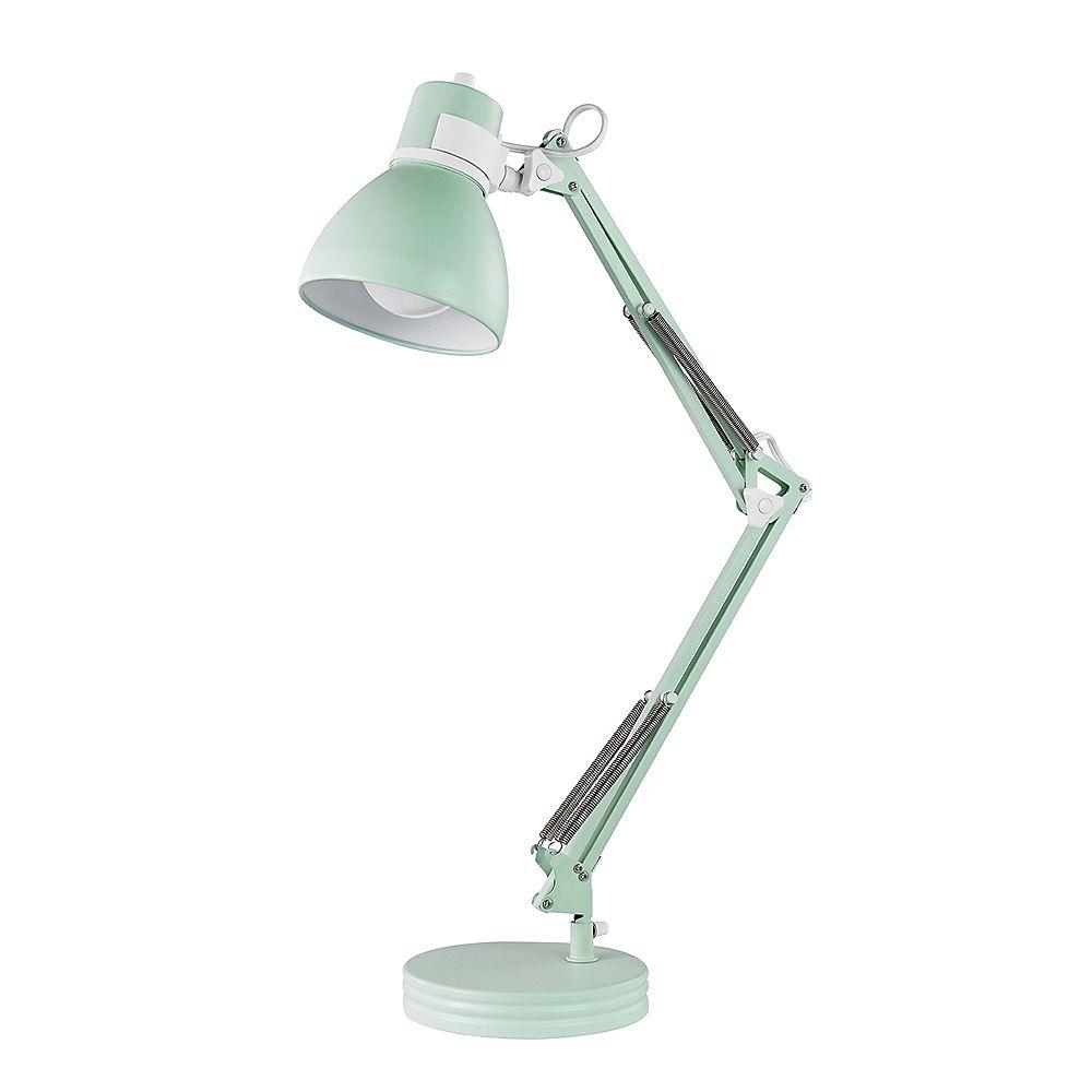 """Globe Electric Lampe de bureau à bras pivotant de 28"""", collection Architect, fini menthe mat, accents blancs mats"""