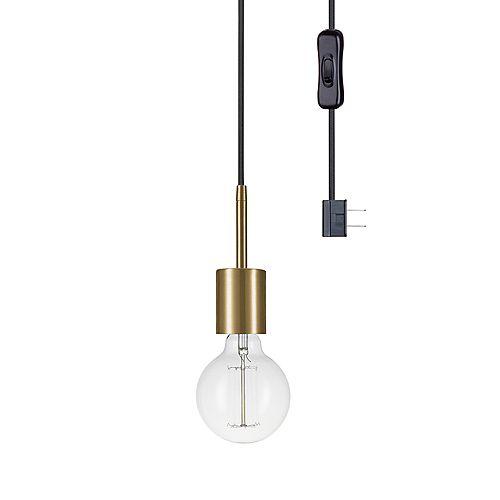 Leila 1-Light Plug-In Pendant, Brass Finish Socket, Black Designer Woven Fabric Cord