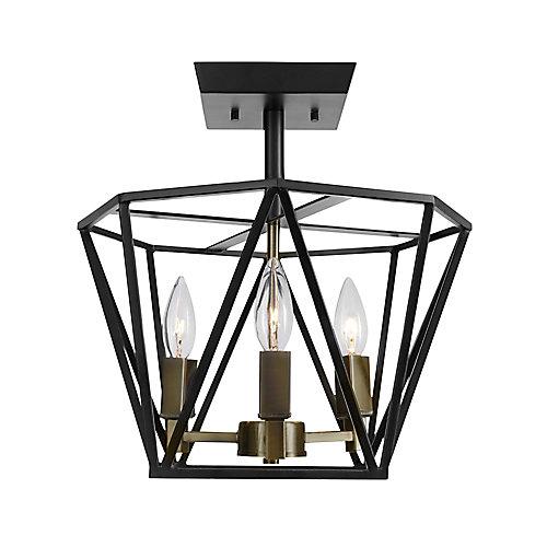 Sansa 3-Light Semi-Flush Mount Ceiling Light Fixture in Dark Bronze Finish with Antique Brass Accents