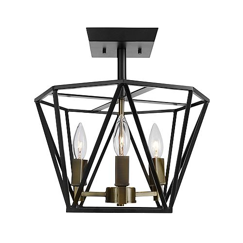 Sansa 3-Light Semi-Flush Mount Ceiling Light Fixture in Dark Bronze Finish with Antique Brass Accents